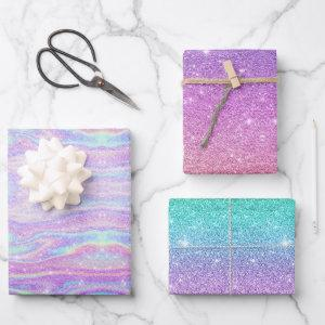 Mermaid Ombre + Iridescent Rainbow Glitter Gift Wrapping Paper Sheets