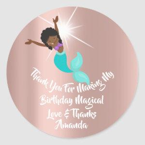Mermaid Party Favors Thanks Birthday Rose Aqua Classic Round Sticker