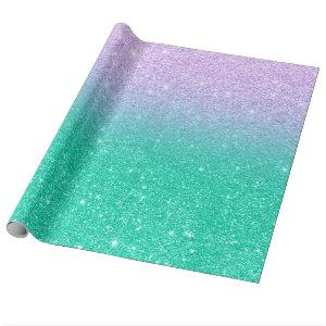 Mermaid purple teal aqua glitter ombre gradient wrapping paper