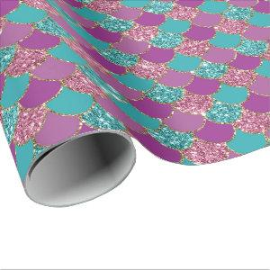 Mermaid Scales Glitter Violet Fuchsia Teal Rose Wrapping Paper