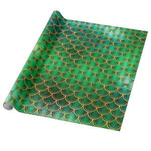 Mermaid Scales Unicorn Metallic Emerald Gold Green Wrapping Paper
