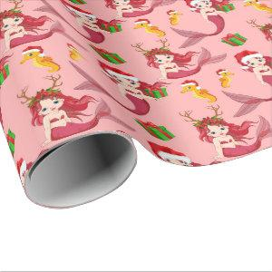 Mermaid seahorse pattern Christmas Wrapping Paper