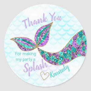Mermaid sticker Glitter, Under the sea Thank you