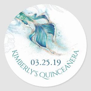 Mermaid Tail Glitters - Under The Sea Quinceanera Classic Round Sticker