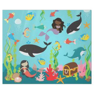Mermaids of Color & Sea Life (Med./Lg. Image) Wrapping Paper