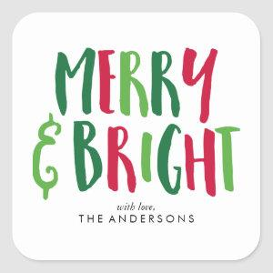 Merry and Bright Holidays Square Sticker