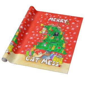 Merry Cat Mess wrapping paper by Nicole Janes