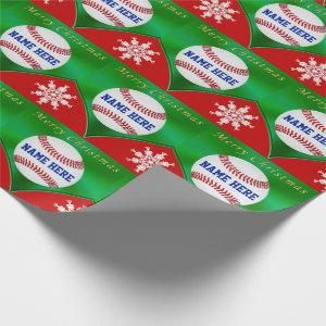 Merry Christmas Baseball Wrapping Paper, Your Name Wrapping Paper