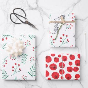 Merry Christmas Black Fern Leaves Holly Berries Wrapping Paper Sheets