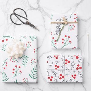 Merry Christmas Black Fern Leaves Holly Berry Leaf Wrapping Paper Sheets