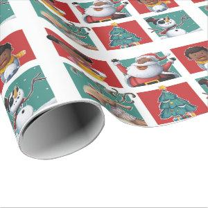 Merry Christmas black Santa and kids Wrapping Paper
