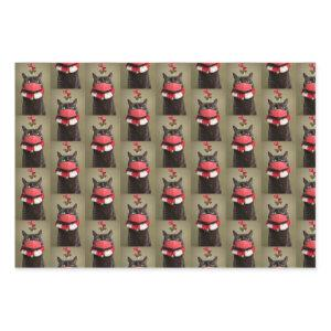 Merry Christmas Cat in Face Mask Under Mistletoe Wrapping Paper Sheets