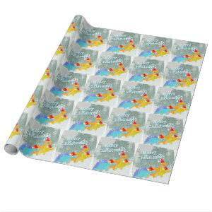 Merry Christmas Cute Cartoon Dinosaurs Wrapping Paper