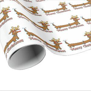 Merry Christmas Dachshund Wrapping Paper