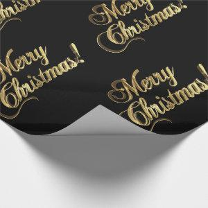 Merry Christmas Elegant Black Faux Gold Foil Text Wrapping Paper