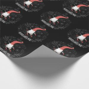 Merry Christmas Gnome Red And Black Holiday Wrapping Paper
