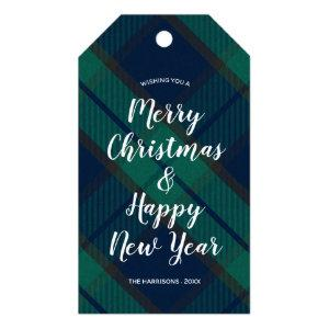 Merry Christmas Happy New Year Black Watch Plaid Gift Tags