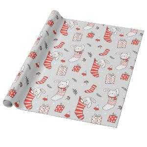 Merry Christmas Holiday Stocking Cats and Rabbits Wrapping Paper