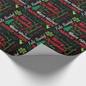 Merry Christmas in Different Languages Gift Wrap