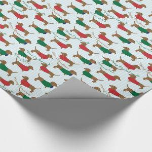MERRY CHRISTMAS, MANY DACHSHUNDS GIFT WRAP PAPER