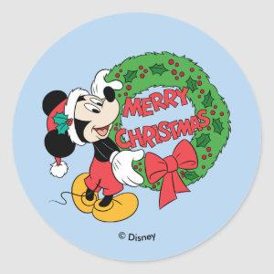 Merry Christmas | Mickey Mouse Holiday Wreath Classic Round Sticker