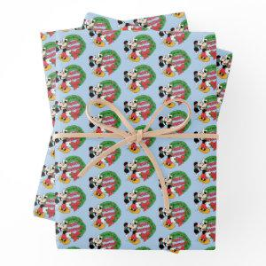 Merry Christmas | Mickey Mouse Holiday Wreath Wrapping Paper Sheets