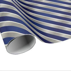Merry Christmas Navy Blue, Silver & White Stripes Wrapping Paper