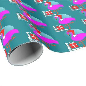 Merry Christmas Pink Flamingo Cute Trendy Graphic Wrapping Paper