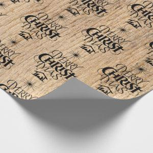 Merry Christmas Religious Calligraphy Rustic Wood Wrapping Paper