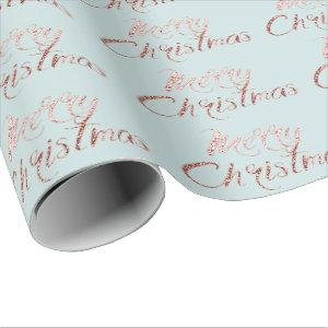 Merry Christmas Rose Gold Blue Cottage Wrapping Paper