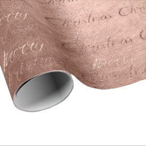 Merry Christmas Rose Gold Glitter Script Cottage Wrapping Paper