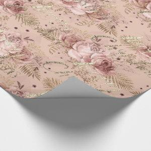Merry Christmas Rose Gold Glitter Script Floral Wrapping Paper
