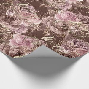 Merry Christmas Rose Gold Glitter Script Rose Pink Wrapping Paper