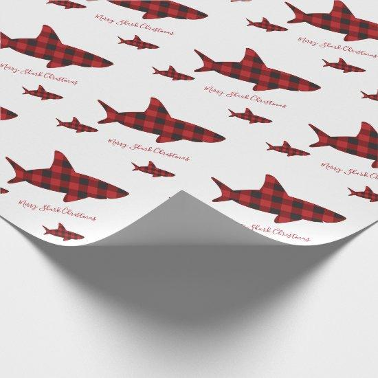 Merry Christmas Shark Red Black Buffalo Plaid Wrapping Paper