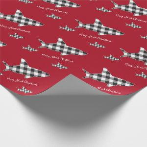 Merry Christmas Shark White Black Buffalo Plaid Wrapping Paper