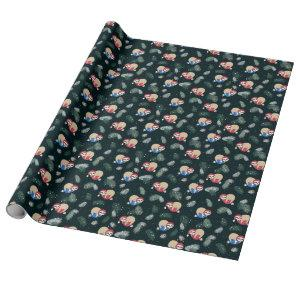 Merry Christmas Sloth Ornament Pattern Wrapping Paper