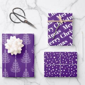 Merry Christmas, trees, polka dots purple holiday Wrapping Paper Sheets