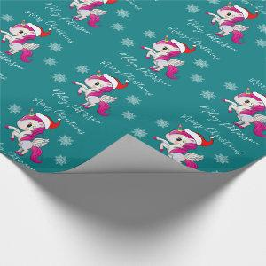 Merry Christmas unicorn & snowflakes personalized Wrapping Paper