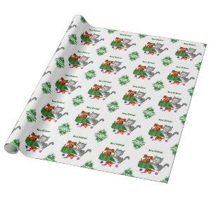 Merry Christmas with Cat and Dog Wrapping Paper