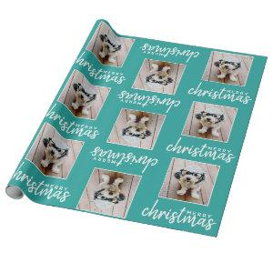 Merry Christmas with One Square Photo - blue Wrapping Paper