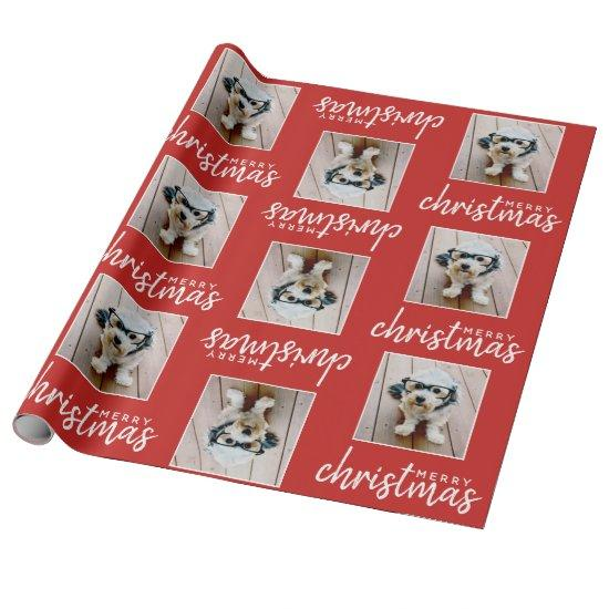 Merry Christmas with One Square Photo - red Wrapping Paper