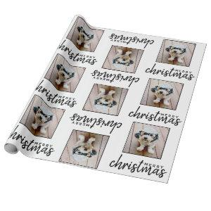 Merry Christmas with One Square Photo - white Wrapping Paper