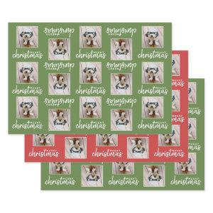 Merry Christmas with One Square Photo Wrapping Paper Sheets