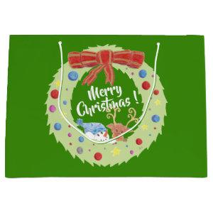 Merry Christmas wreath green gift bag