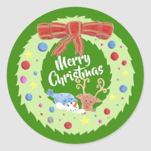 Merry Christmas  , wreath green Holiday stickers