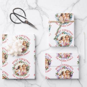 Merry Christmas wreath in red blue purple photo Wrapping Paper Sheets