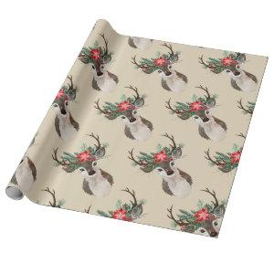 Merry Everything Watercolor Deer Antler Bouquet Wrapping Paper