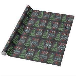 Merry Mustache Chalkboard Christmas Wrapping Paper