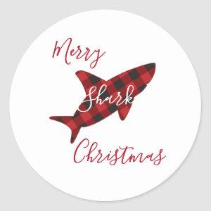 Merry Shark Christmas Red Plaid Script Classic Round Sticker