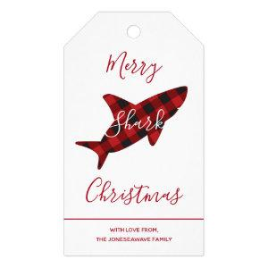 Merry Shark Christmas Red Plaid Script Gift Tags